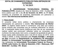 EDITAL DE CHAMAMENTO PÚBLICO PARA OBTENÇÃO DE  PATROCÍNIO  01/2019