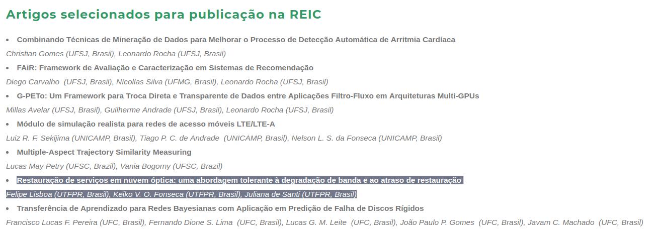 Trabalho de Iniciação Científica de Felipe Lisboa, orientado pela professora Juliana de Santi, fica entre os 10 melhores do Brasil